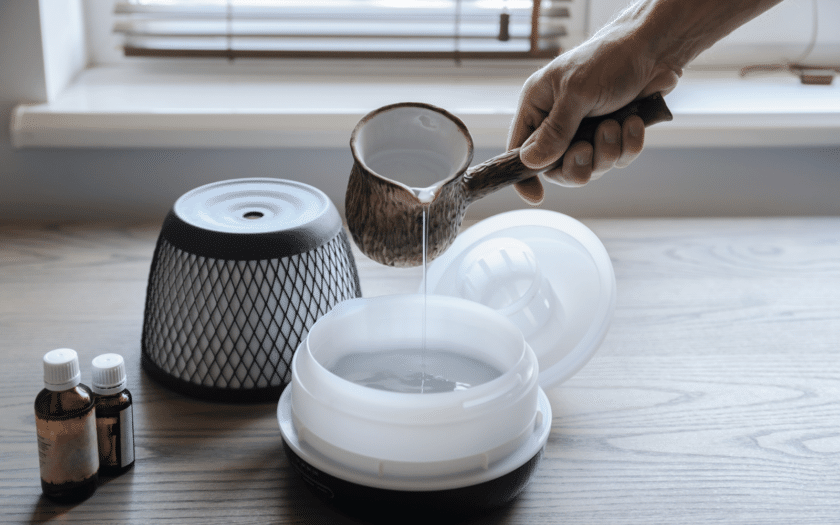 pouring an additive into a bowl of water