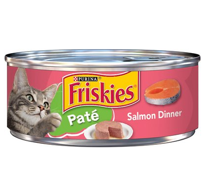 A can of Friskies' canned salmon food