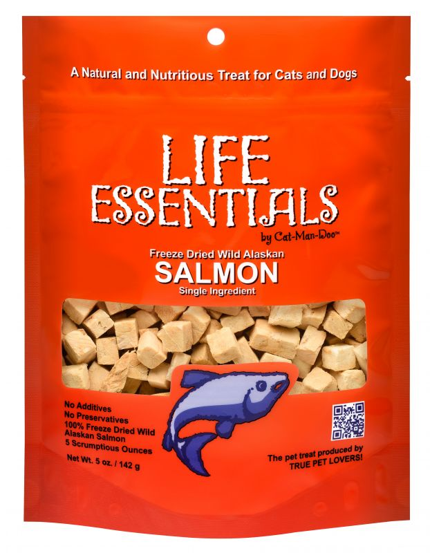 An orange bag with salmon treats from Life Essentials