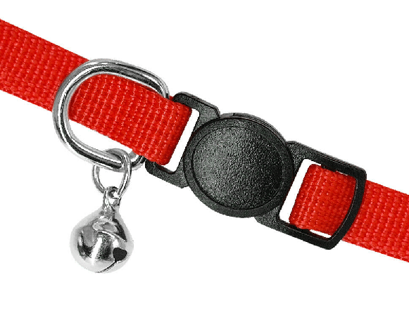 A cat collar with a bell and a breakaway part