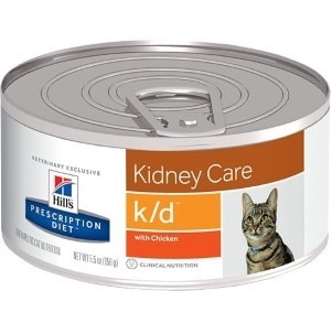 A can of Hills kidney care food for cats with chronic kidney problems