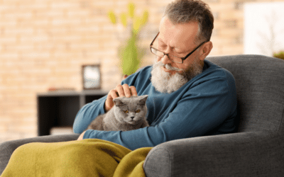 An older man sitting with his cat